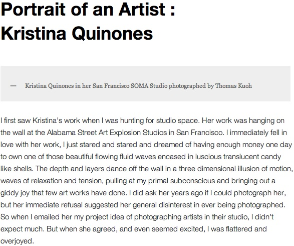 Portrait of an Artist: Kristina Quinones by Thomas Kuoh, Aug. 15, 2011